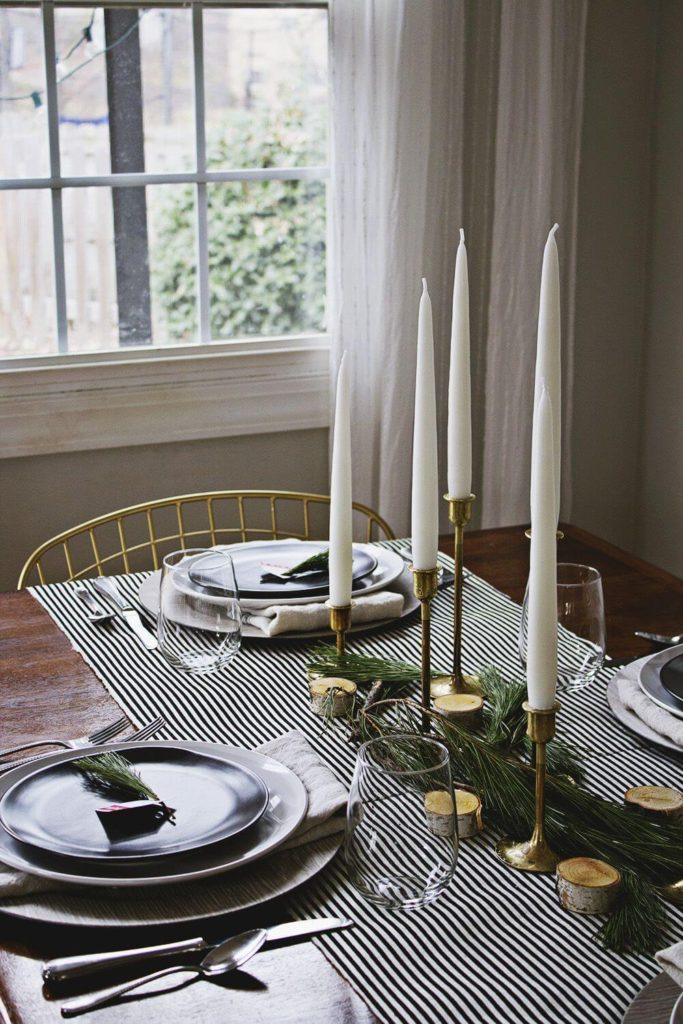 Minimal rustic Christmas table setting