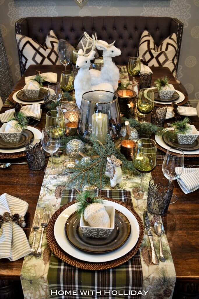 Rustic woodland Christmas table