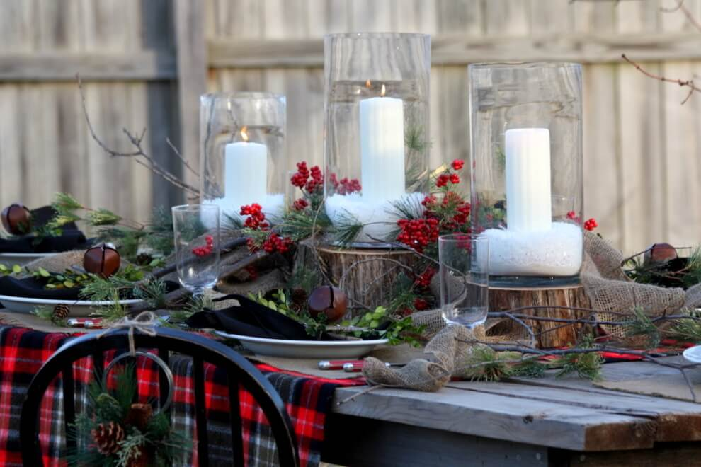 Outdoor Rustic Glam Christmas Table