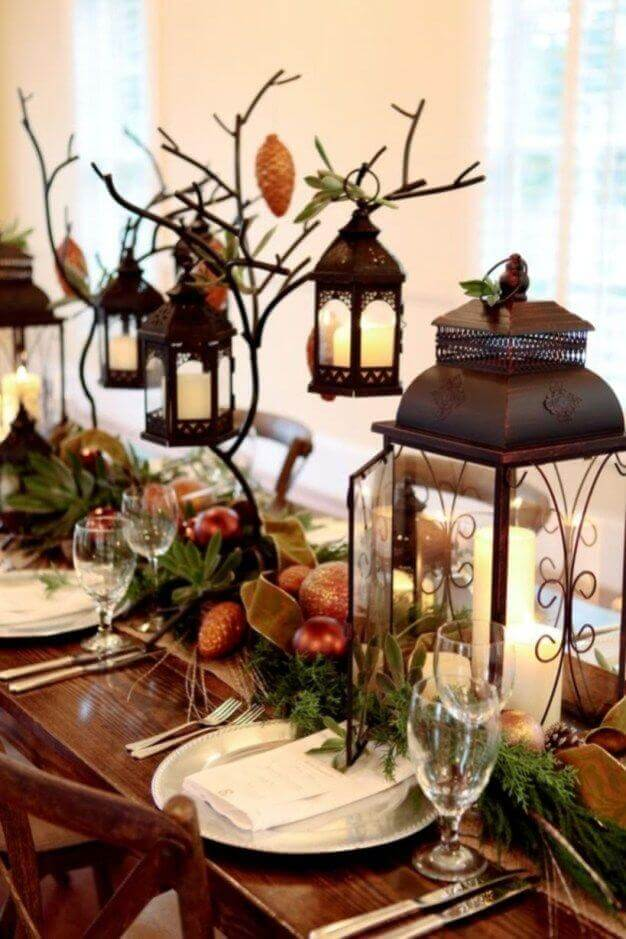 Lanterns Rustic Christmas table decor