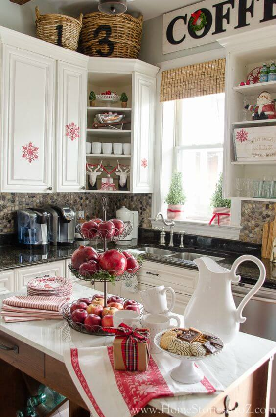 White red kitchen decoration
