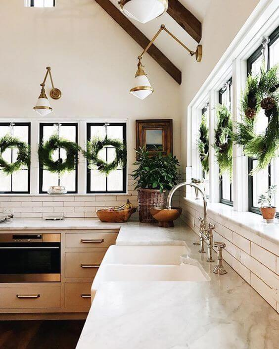 Kitchen Window Wreaths Decor
