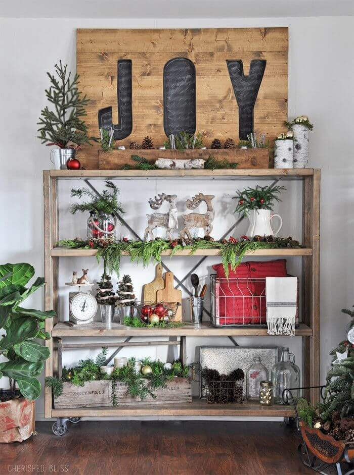 Rustic Christmas kitchen shelf decor