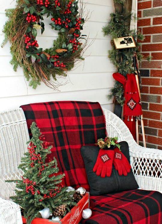 Porch Christmas Decor With Plaid