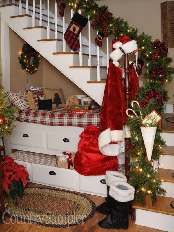 Stairs Christmas Decor With Plaid