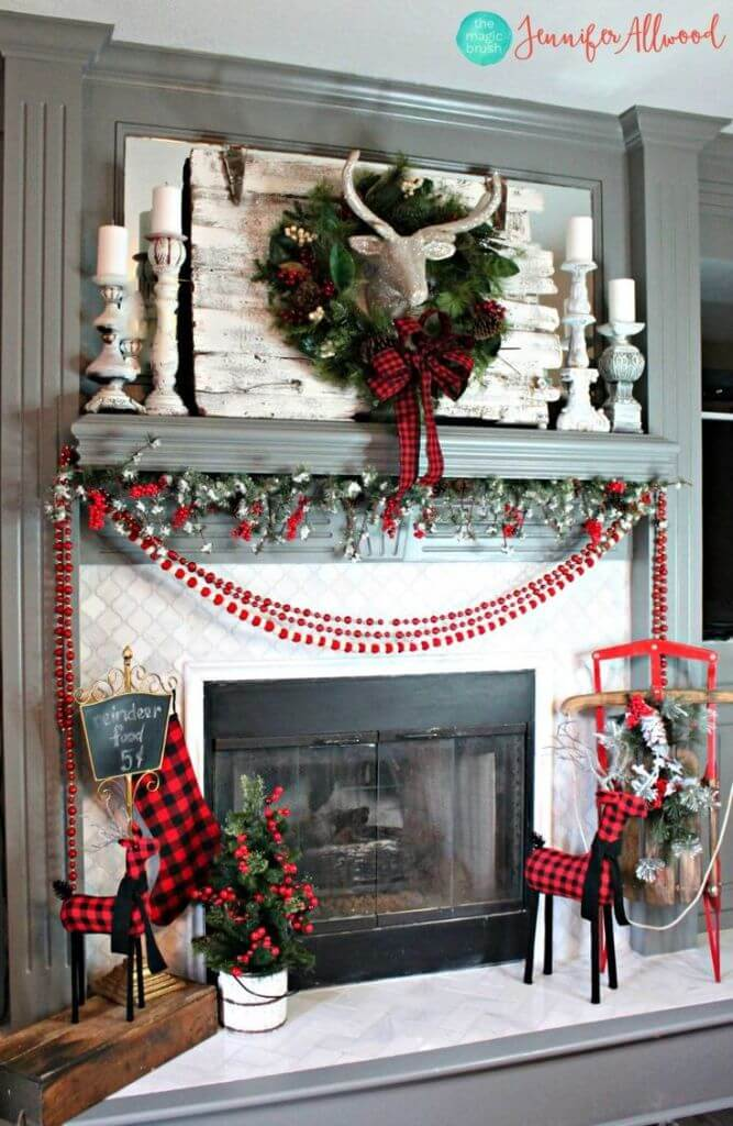 Fireplace Coat Plaid Christmas Decor