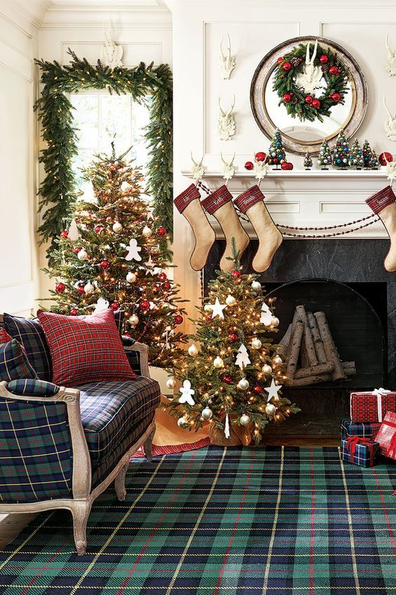 Plaid furniture Christmas decor