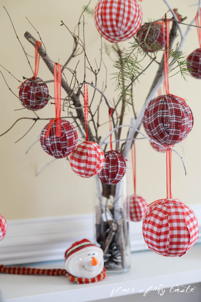 Table Christmas Tree Plaid Ornaments