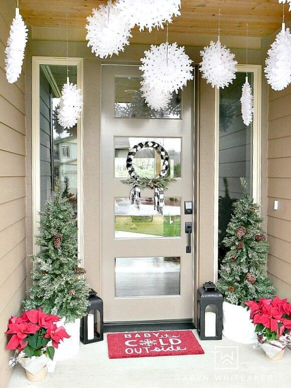 Front Door Christmas Decor Plaid