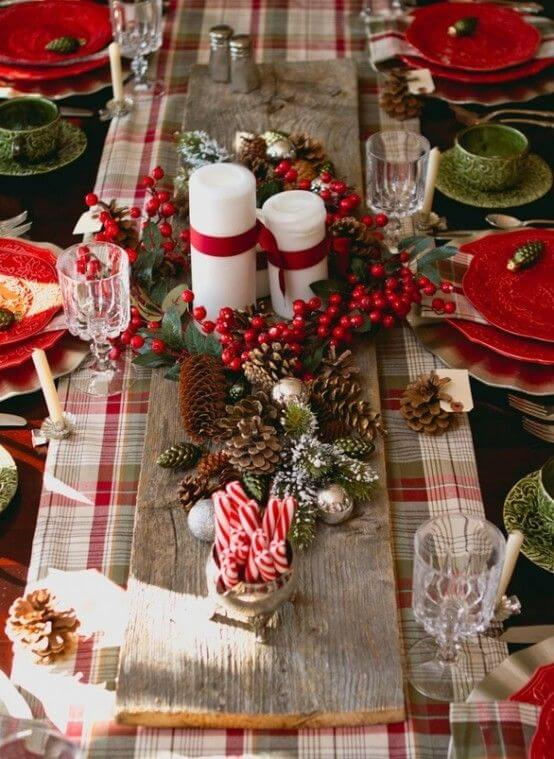 Farmhouse Style Plaid Dinner Decor