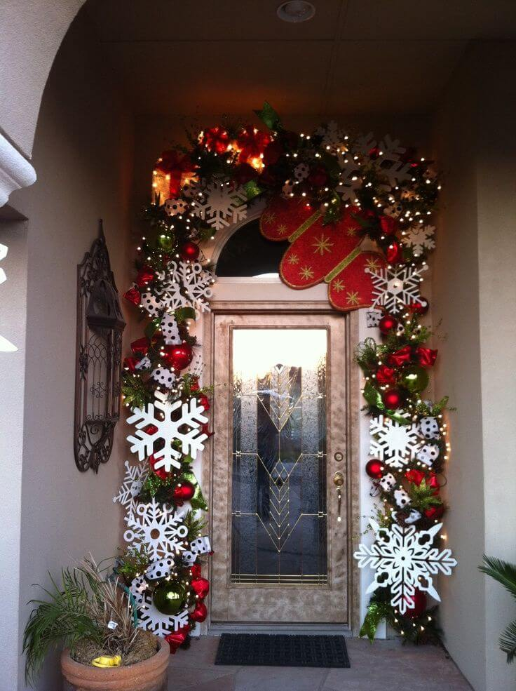 Colorful front door Christmas decoration