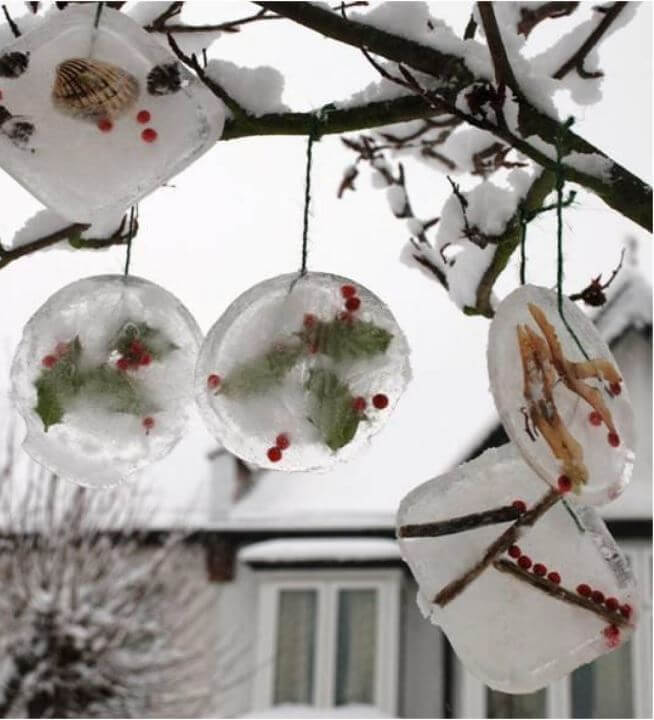 Ice ornaments outdoors Christmas tree