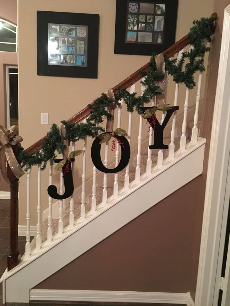 Christmas sign stairs