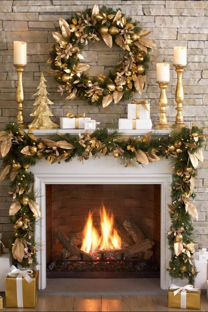 Fireplace Mantel Golden Decoration