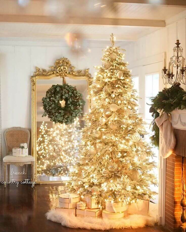 Prelit Golden Christmas Tree