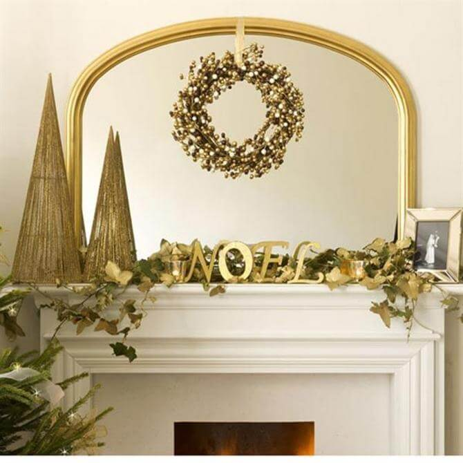 Golden wreath mantle decoration