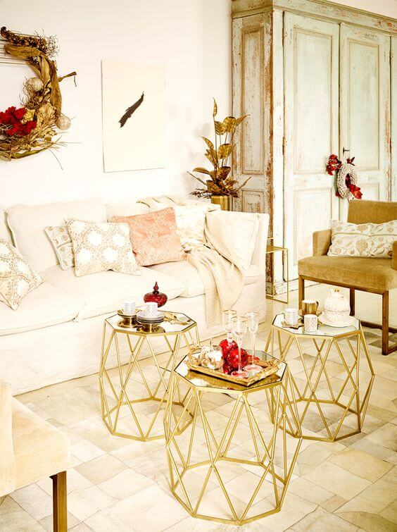 White gold Christmas living room