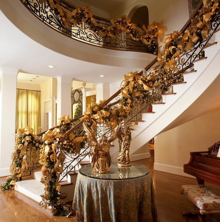 Grand Staircase Gold Christmas Decor