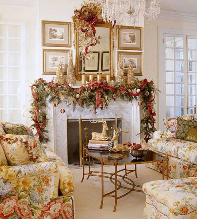 Gold Christmas living room decor