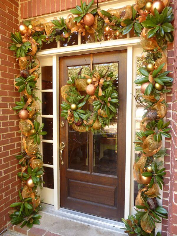 Green gold front door decor