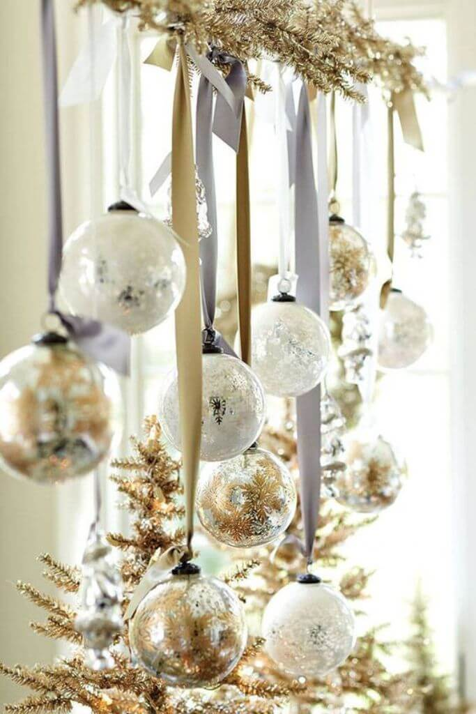 Gold Silver Christmas Window Decor