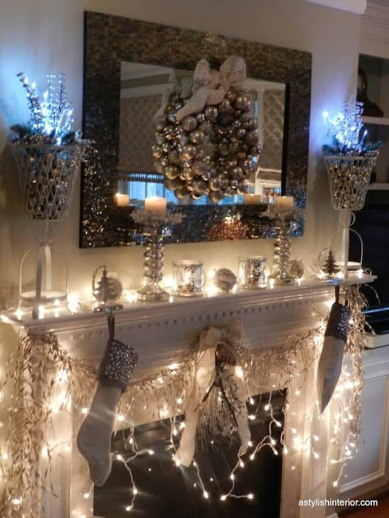 All gold Christmas lights decor