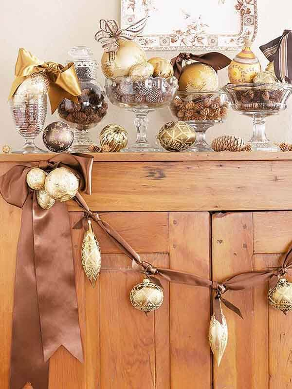 Kitchen cabinet gold Christmas decor