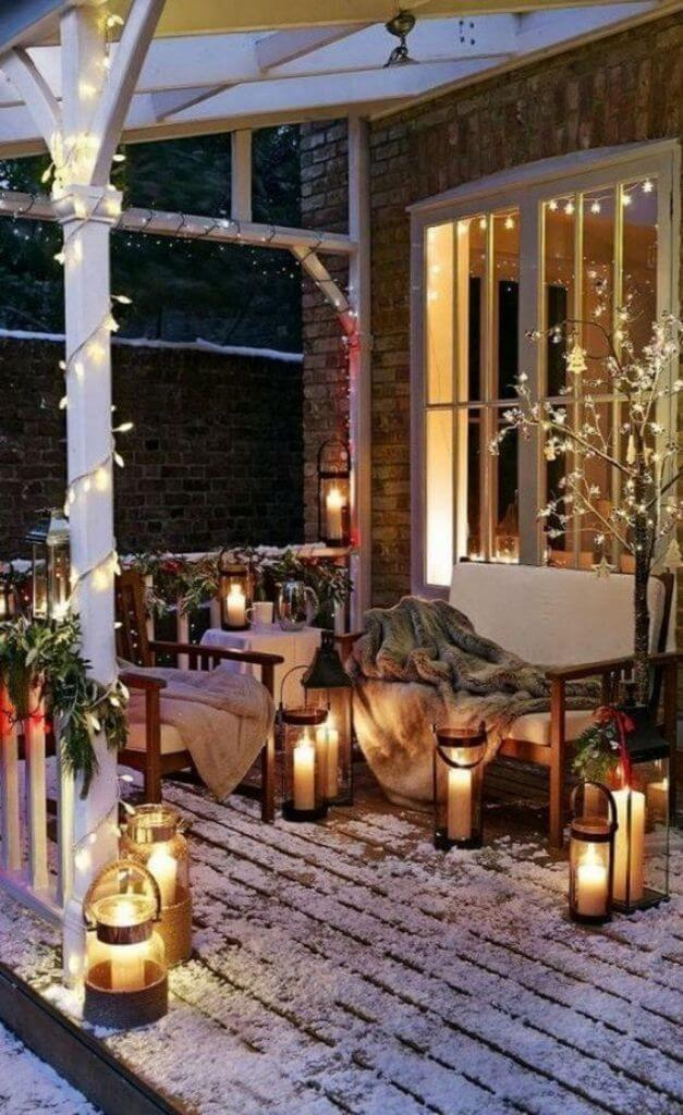 Front Porch Golden Lights Decor