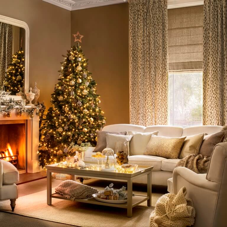 Beautiful gold Christmas living room