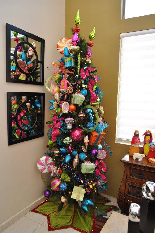 Colorful Slim Corner Christmas Tree