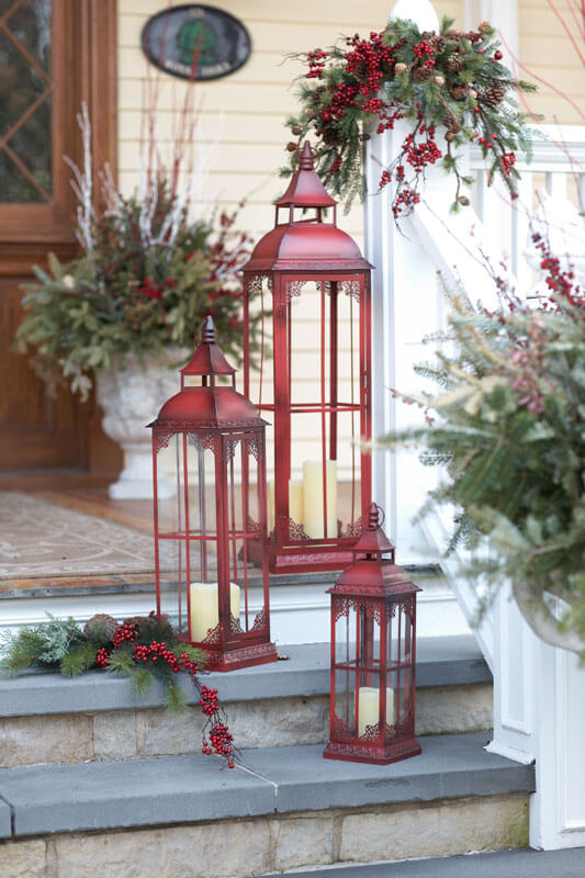 Entryway Stairs Red Lanterns Decor