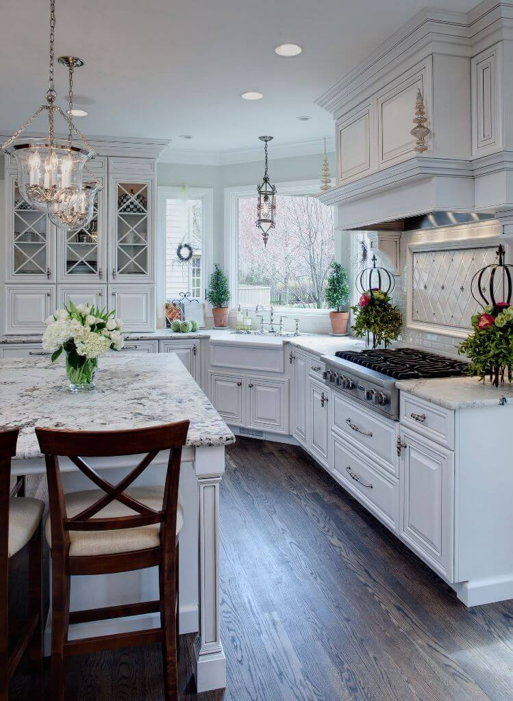 Fresh white open kitchen design