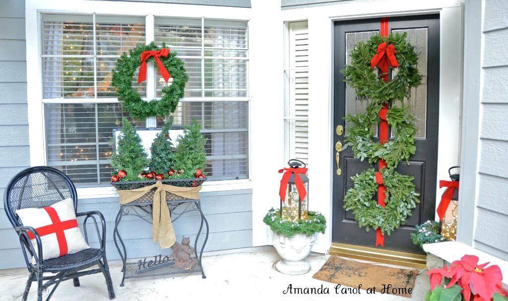 Christmas porch with wreath decoration