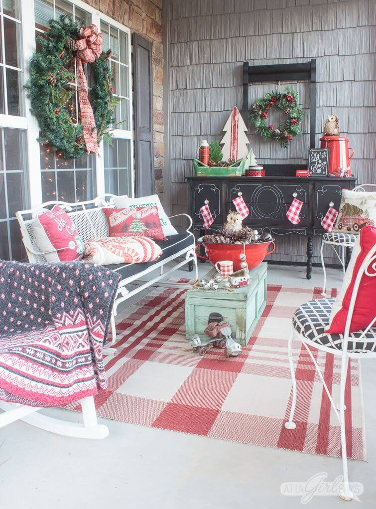 Christmas decorations for vintage porch