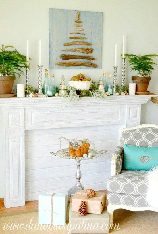 Beach colors fireplace mantel decor