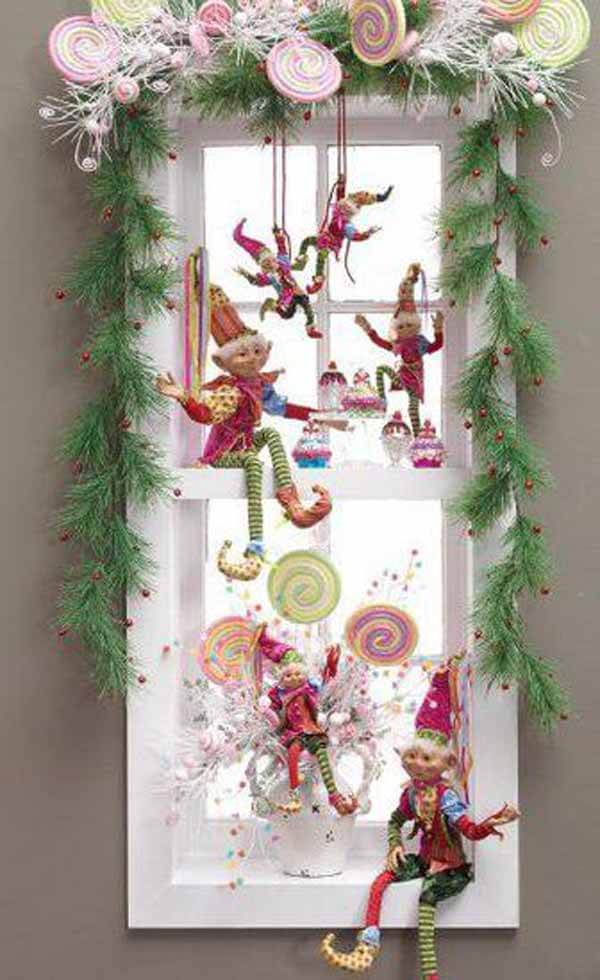 Festive colorful Christmas decorations