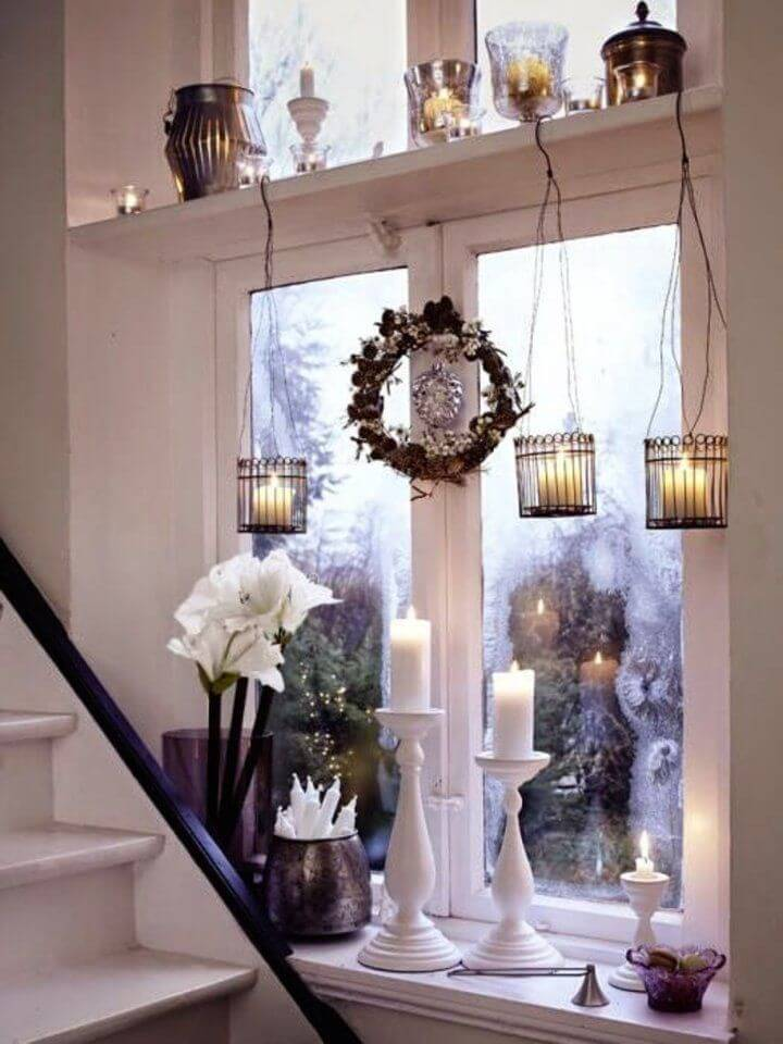 Elegant bright Christmas window decor