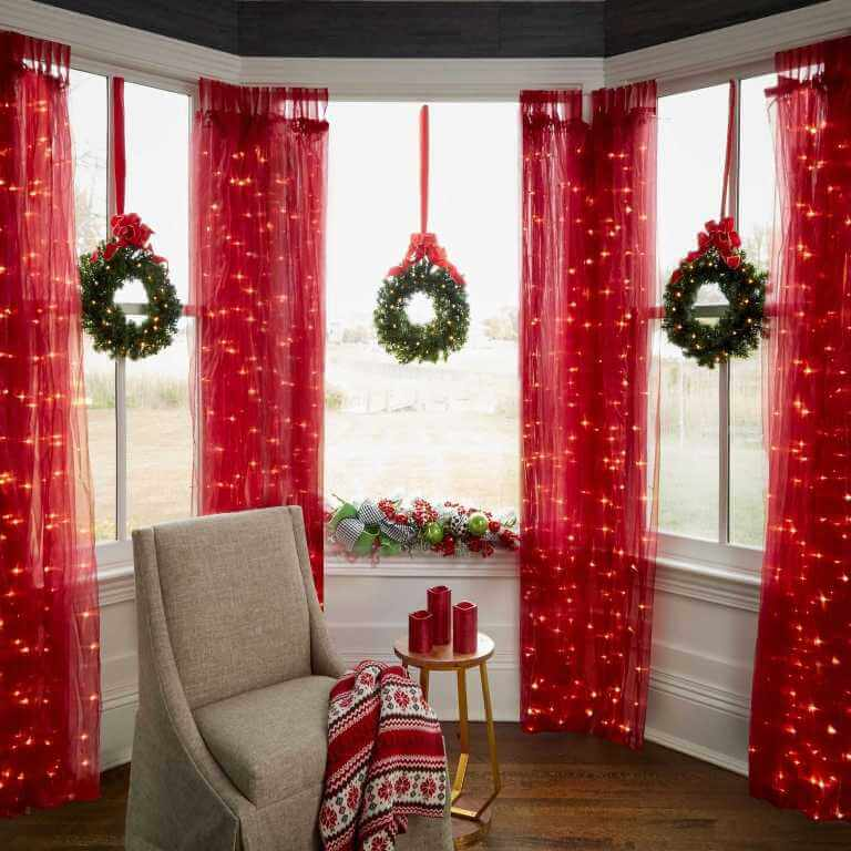 Traditional festive red-green decor