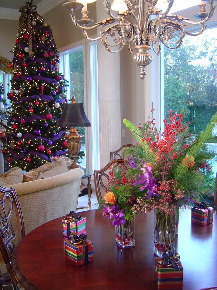 Beautiful purple red Christmas decorations