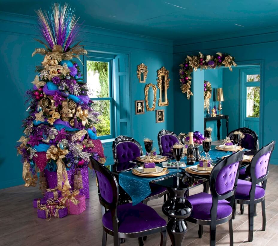 Festive blue purple Christmas decorations