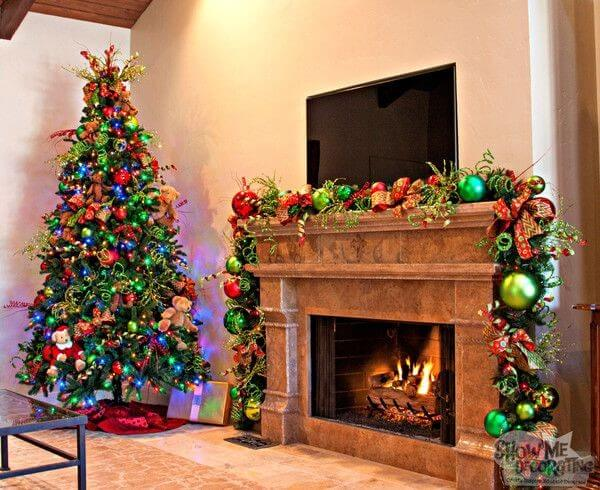 Traditional fireplace colorful Christmas decor