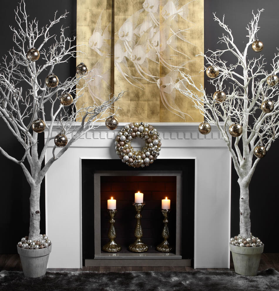 White fireplace Christmas decoration
