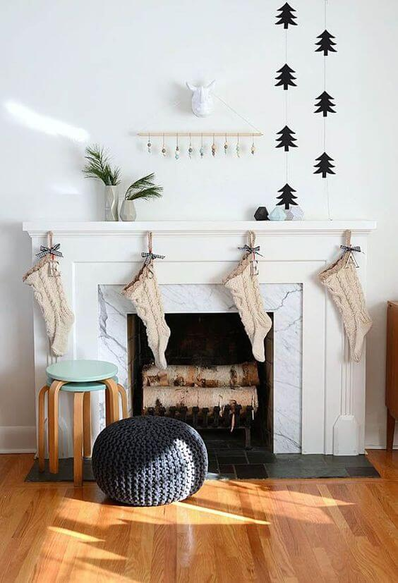 Elegant minimal fireplace decoration
