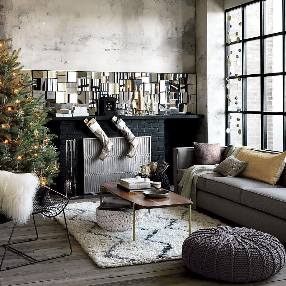 Industrial style minimalist Christmas decor