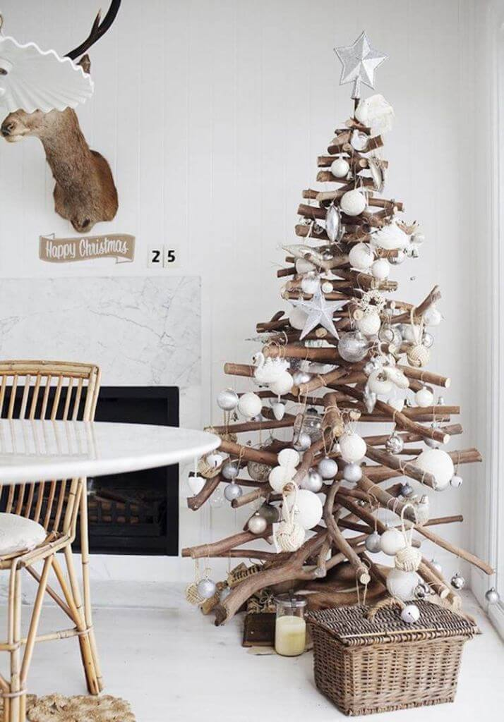 Wooden branches Christmas tree decor