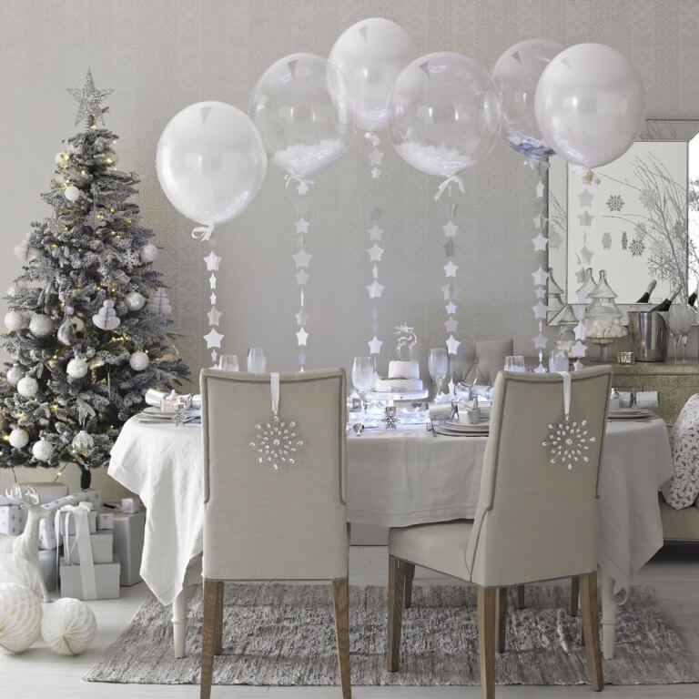 Dining room in silver white tree