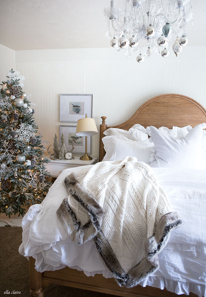 Bedroom Christmas decoration Silver White