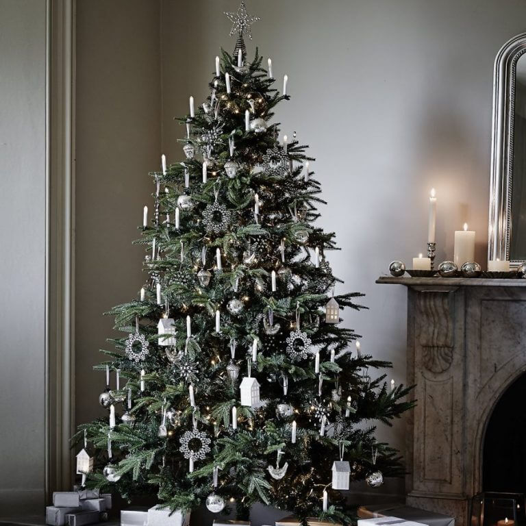 Modern silver white Christmas tree