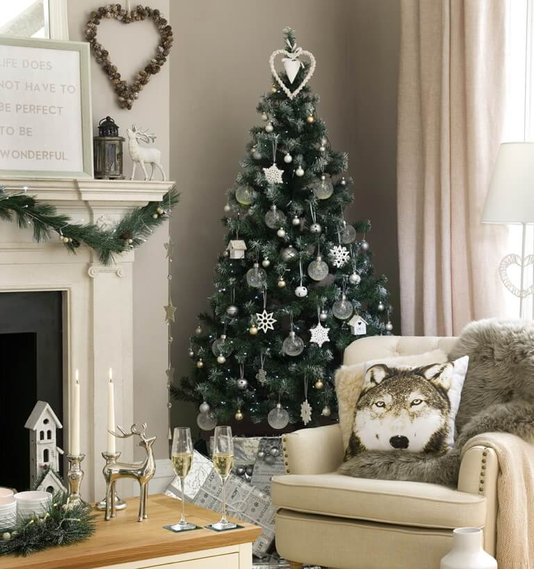Fireplace Silver white tree decoration