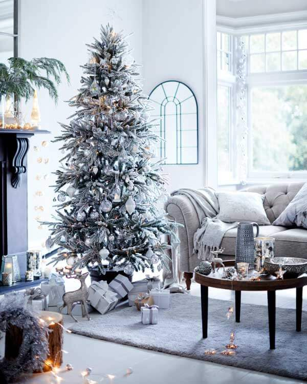 Elegant silvery white Christmas tree